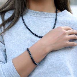 Cadena de Tenis con Piedras Negras de 5 mm de Oro Negro para Mujer