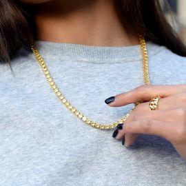 Cadena de Tenis con Piedras Amarillas de Fantasía de 5 mm de Oro