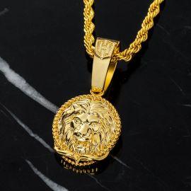 Colgante Redondo de Cabeza de León de Oro