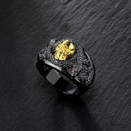 Anillo de Doble Serpiente con Calavera de Oro Negro