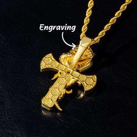 Colgante Ankh Serpiente Retorcida con Ojo de Horus de Oro con Diamantes