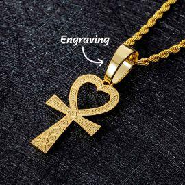Colgante de Cruz Ankh en forma de Corazón de Oro