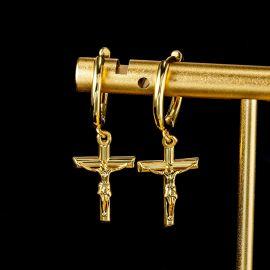 Pendientes Cruz Crucifixión de Jesús de Oro