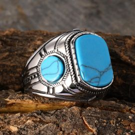 Anillo Retro con Piedras Azules de Acero Inoxidable