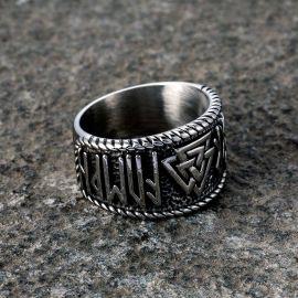 Anillo Vikingo de Acero Inoxidable 316L de Odin Runes Valknut