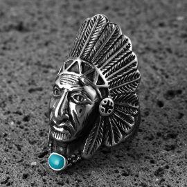 Anillo de Mmotorista con Cabeza de Indio Nativo Americano