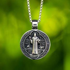 Colgante Medalla de San Benito de Acero Inoxidable