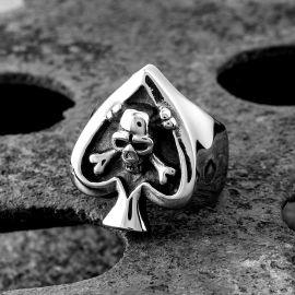Anillo de Calavera en forma de Spades de Acero Inoxidable