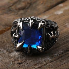 Anillo de Acero Inoxidable con Zirconia Azul