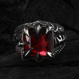 Anillo de Acero Inoxidable con Zirconia Roja