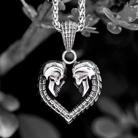 Colgante Calavera en forma de Corazón de Acero Inoxidable