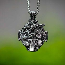 Colgante Vikingo Odin Lobo Raven de Acero Inoxidable
