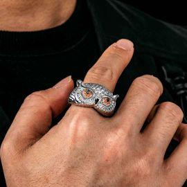 Anillo con Diamantes de Búho de Plata