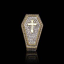 Anillo de Ataúd con Cruz con Diamantes de Oro