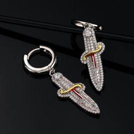 Pendientes Colgante Espada con Diamantes de Dos Tonos