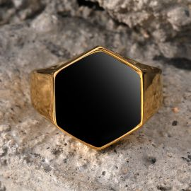 Anillo Hexagonal de Acero Inoxidable de Oro