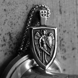 Colgante de Acero Inoxidable con Escudo de San Miguel Arcángel