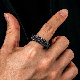 Anillo con Tres Filas de Diamantes Eternos de Oro Negro de 8.5mm