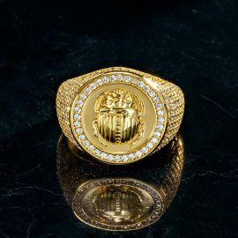 Anillo de Escarabajo con Diamantes de Oro