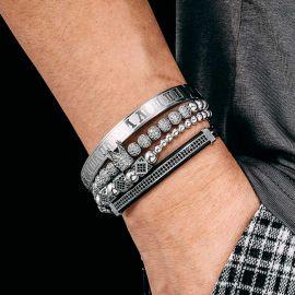 4Pcs Juego de Pulsera de Acero con Cuentas de Cobre y Número Romano de Plata con Diamantes