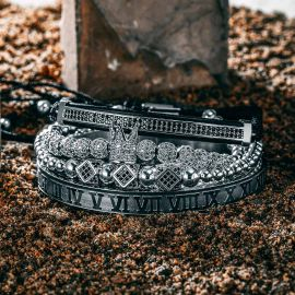 4Pcs Juego de pulsera de acero con cuentas de cobre y número romano de oro negro con diamantes