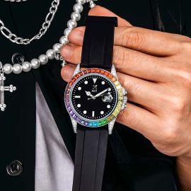 40mm Reloj de Aleación con Piedras Graduales y Esfera Negra con Correa de Goma Negra
