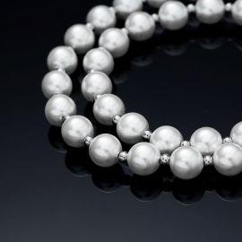 8mm Collar de Perlas con Bolas de Acero