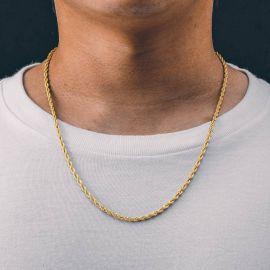 Cadena de Cuerda de 3 mm de Oro en Plata 925 de Ley