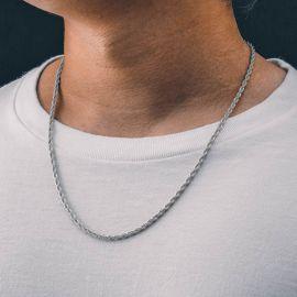 3mm Cadena de Cuerda Sólida de Plata 925