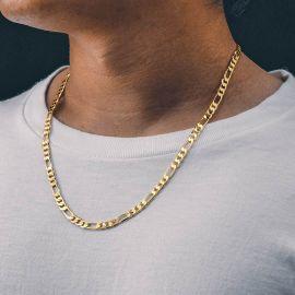 5mm Cadena Figaro Sólida de Plata 925 de Oro