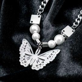 Collar de Acero Inoxidable con Dados Mariposa Perlas