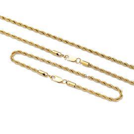 3mm Juego de Cadenas de Cuerda de Plata de Ley 925 Maciza de Oro