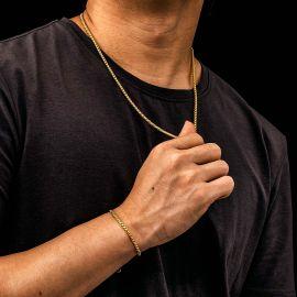 3mm Juego de Cadenas de Plata de Ley 925 Maciza de Caja Redonda de Oro