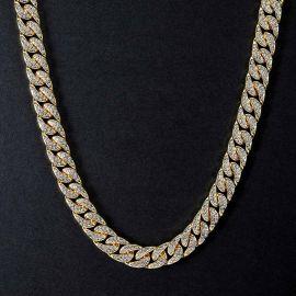 Cadena Cubana con diamantes de Oro de 18K de 13mm