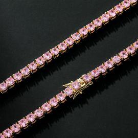 Cadena de Oro de 18K con Piedras Rosas de 5mm