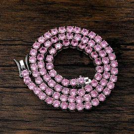 Cadena de Plata de 18K con Piedras Rosas de 5mm