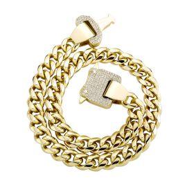 12mm Cadena Cubana de Eslabones con Hebilla de Diamantes de Oro
