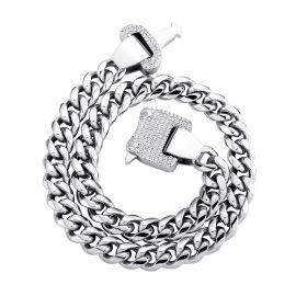 12mm Cadena Cubana de Eslabones con Hebilla de Diamantes de Plata