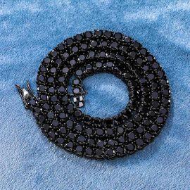 5mm Cadena de Tenis de Oro Negro de 18 quilates con Piedras Negras