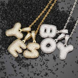 Colgante de Letra 26 Burbujas de Oro con Diamantes