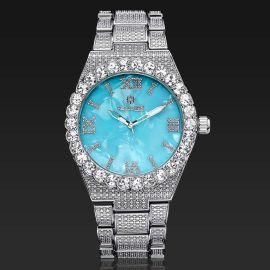 Reloj de Números Romanos con Esfera Azul Bebé de Plata con Diamantes para Hombre