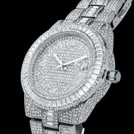 Reloj de Números Romanos de Plata con Diamantes de Corte Baguette para Hombre