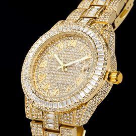 Helloice Reloj de Números Romanos de Oro con Diamantes de Corte Baguette para Hombre