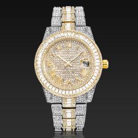 Reloj de Números Romanos con Diamantes de Corte Baguette de Dos Tonos para Hombre