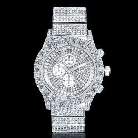 Reloj con Diamantes de Corte Redondo de Plata para Hombre