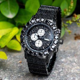 Reloj con Diamantes de Corte Redondo de Oro Negro para Hombre
