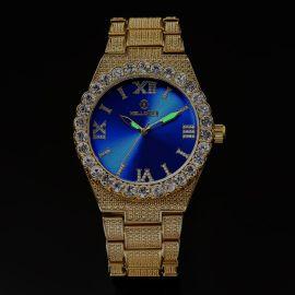Reloj de Números Romanos  de Oro con  Esfera Azul con Diamantes para Hombre