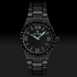 Reloj de Números Romanos con Esfera Negra de Oro Negro con Diamantes para Hombre