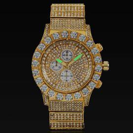 Reloj con Diamantes de Corte Redondo de Oro para Hombre
