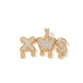 Colgante de Letras de Nombre Personalizado de Goteo con Diamantes de Oro
